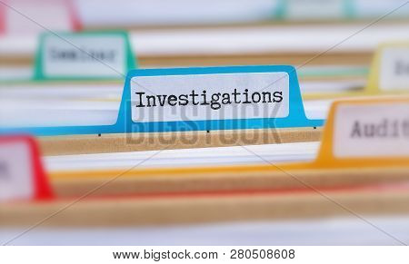 File Folders With A Tab Labeled Investigations
