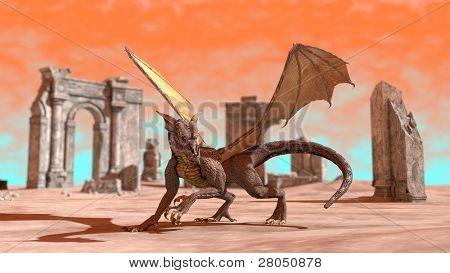 dragon among ruins poster