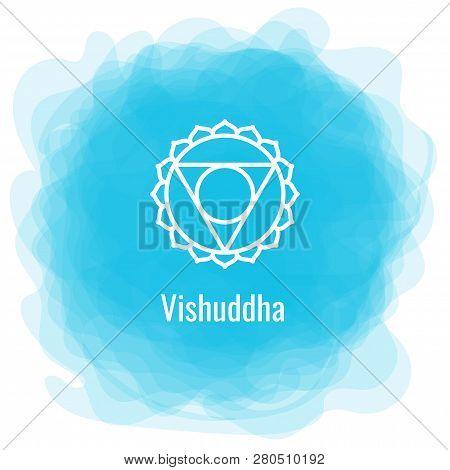 Vishuddha Icon. The Fifth Guttural Chakra. Vector Blue Smoky Circle. Line Symbol. Sacral Sign. Medit