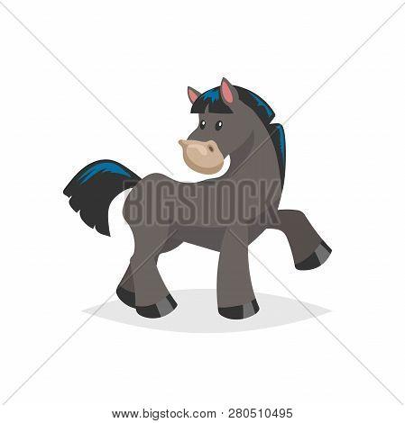 Cartoon Cute Black Horse. Farm Animal Vector Illustration Isolated On White Background. Trendy Flat