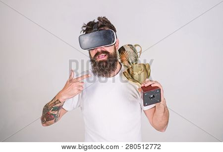 Achievement Unlocked. Feel Victory In Virtual Reality Games. Achieve Victory. Man Bearded Hipster Vr