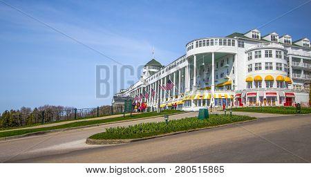 Mackinaw Island, Michigan, Usa - May 5, 2016: Exterior Of The Grand Hotel On Mackinaw Island. The Hi