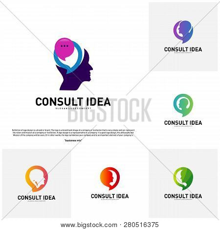 Set Of Modern Business Consulting Agency Logo Design Template. Talk People Head Logo Concept