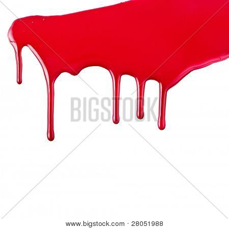 Red paint dripping isolated on white background poster
