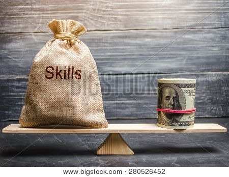 The Concept Of Decent Wages Of An Employee For Useful Skills. Professionals Of The Business. Low-qua