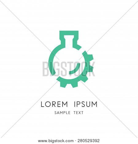 Lab And Gear Wheel Logo - Test Tube And Pinion Symbol. Laboratory And Medical Equipment, Chemical In