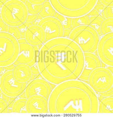 Indian Rupee Gold Coins Seamless Pattern. Energetic Scattered Yellow Inr Coins. Success Concept. Ind