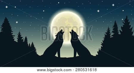 Two Wolves Howl At The Full Moon In Forest Landscape Vector Illustration Eps10
