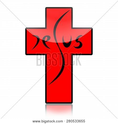 Jesus Inscription On The Cross Isolated On White Background