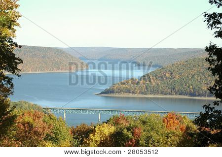 overlook of reservoir lake and Allegheny bridge in the Allegheny National Forest in fall