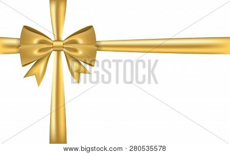 Gold Gift Bow Ribbon. Golden Bow Tie Isolated On White Background. 3d Shiny Gift Bow Tie For Christm
