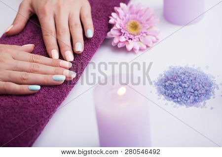 Spa Nail Procedures. Beautiful Manicure On The Hands. Beautiful Hands After A Spa Treatment. The Con