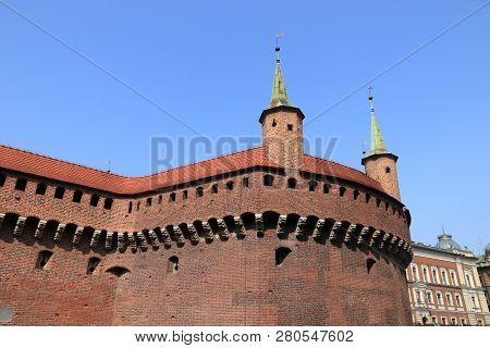 Krakow City In Poland. Barbican - Medieval Fortified Outpost.