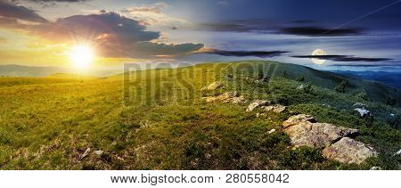 Day And Night Time Change Concept Above Carpathian Alpine Meadows Panorama. Wonderful Summer Landsca