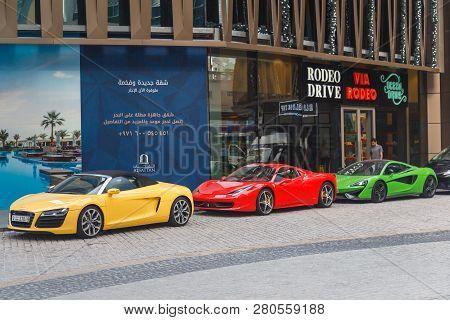 Dubai, Uae - January 05, 2019: Rixos Premium Dubai Jbr, Hotel With Supercars