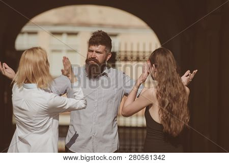 It Is All His Fault. Family Conflict. Jealous Women Blaming Unfaithful Man For Having A Lover. Roman