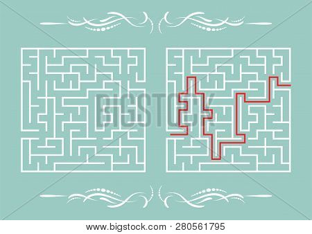 Abstract Square Maze. Game For Kids. Puzzle For Children. One Entrance, One Exit. Labyrinth Conundru
