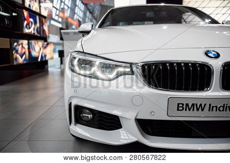 Munich, Germany - December 16, 2018: Exhibition Of New Models Of Cars At Bmw Welt. Bmw M4 Individual