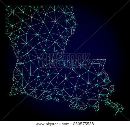 Polygonal Mesh Map Of Louisiana State. Abstract Mesh Lines, Triangles And Points On Dark Background