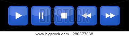Blue, White Square Music Control Buttons Set - Five Icons With Shadows In Front Of A Black Backgroun