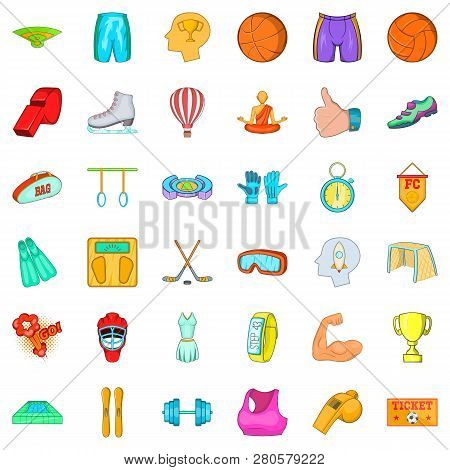 Healthy Lifestyle Icons Set. Cartoon Style Of 36 Healthy Lifestyle Icons For Web Isolated On White B