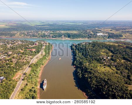 Triple Frontier, Tri-border Area Along The Junction Of Paraguay, Argentina And Brazil. Iguazú And Pa