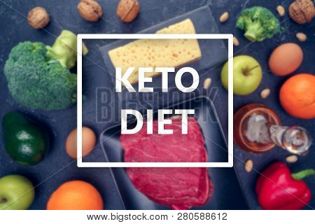Image of products for keto diet on empty black background in studio.