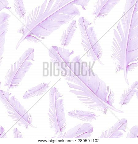 Seamless Pattern With Watercolor Image Of Pigeon Feathers
