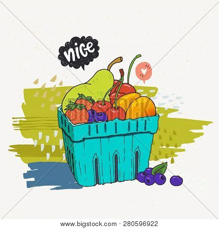 Fruits And Berries In Disposable Blue Carton Box. Hand Drawn Vector Illustration Of Local Summer Fru