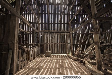 Morning Light. Morning Sunlight Illuminates The Interior Of A Barn. This Is A Barn Open To The Publi