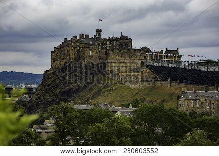 Edinburgh Castle In Scotland Uk From Below Including Arena