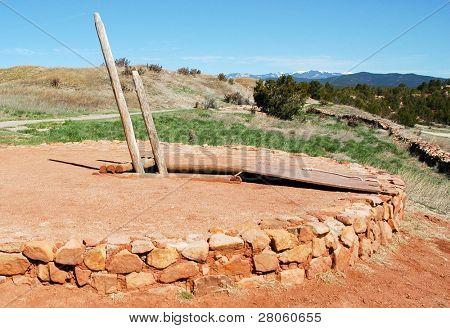 native american indian ruins kiva and ladder