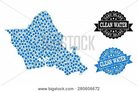 Map Of Oahu Island Vector Mosaic And Clean Water Grunge Stamp. Map Of Oahu Island Created With Blue