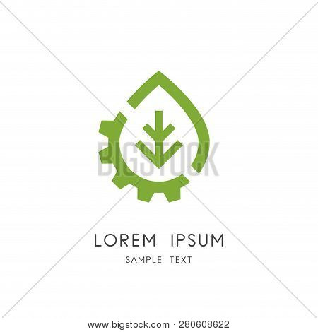 Leaf And Gear Wheel Logo - Plant And Pinion Symbol. Green Power And Alternative Energy Source, Indus