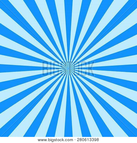 Abstract Blue Starburst Showing Blue Rays Of Light Spreading Out From The Center, Blue Cold Sun, Blu