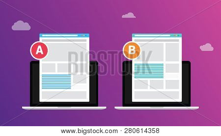 Ab A B Split Testing Concept With Two Business Men Compare Test Result Between 2 Page Of Website Des