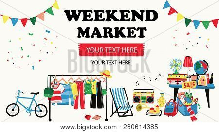 Weekend Market Banner With Second Hand Shop Doodle Selling All Old Things Like, Clothes, Suitcases,