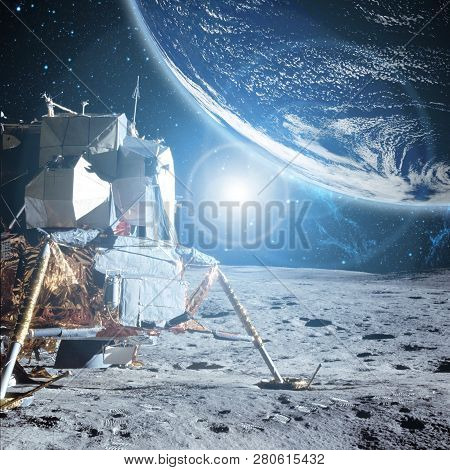 View To Planet Earth From Moon Surface. Elements Of This Image Furnished By Nasa