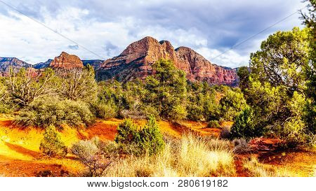 The Red Rocks Of Munds Mountain Wilderness Viewed From The Little Horse Trail Head At The Town Of Se