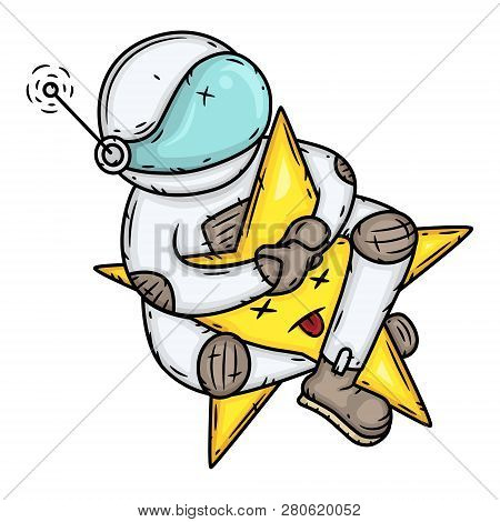 Astronaut Riding A Star. Conquest Of Space Concept.