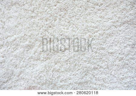 Beautiful Texture Of A White Carpet. Texture Of White Fleecy Carpet