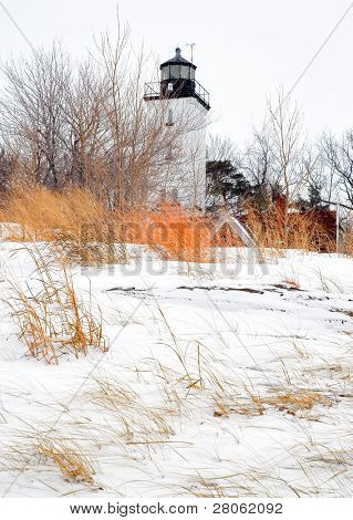 Presque Isle lighthouse in winter