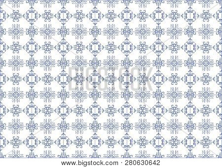 Seamless Pattern In Blue And White. Endless Pattern Can Be Used For Ceramic Tile, Wallpaper, Linoleu