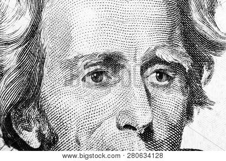 Close Up View Portrait Of Andrew Jackson On The One Twenty Dollar Bill. Background Of The Money. 20