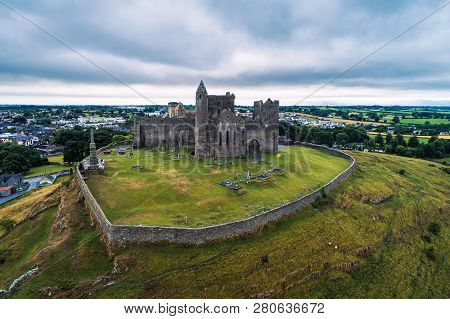 Aerial View Of The Rock Of Cashel, Also Known As Cashel Of The Kings And St. Patricks Rock, Is A His