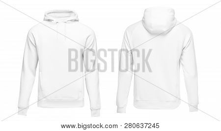 White Male Hoodie Sweatshirt Long Sleeve With Clipping Path, Mens Hoody With Hood For Your Design Mo