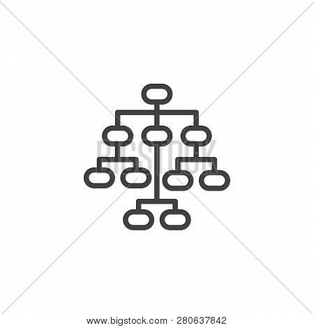 Sitemap Line Icon. Linear Style Sign For Mobile Concept And Web Design. Flow Chart Outline Vector Ic