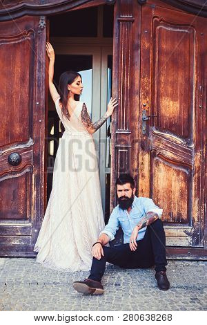 Glamorous And Casual. Sensual Woman In Fashionable Dress. Bearded Man In Casual Wear. Man And Woman