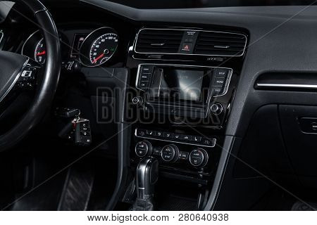 Novosibirsk, Russia - January 25, 2019:  Volkswagen Golf,   Close-up Of The Dashboard, Accelerator H