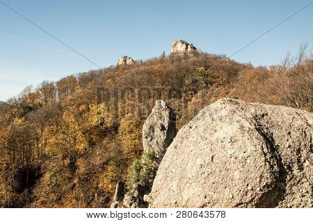 Autumn Sulovske Skaly Mountains From Vyhliadka Opasana View Point With Rocks, Colorful Forest And Cl